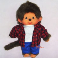 Monchhichi 2010 Dressed MCC Red Black Checker Jeans Boy 239780