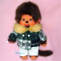 Monchhichi S Size Dressed Fur Collar Checker Jacket Boy 239830