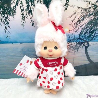 Monchhichi Chimutan I Love Strawberry Bunny M Size 34cm Plush 250523