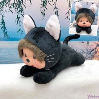 Monchhichi S Size 15cm Plush Animal Lying Cat Black 255269 ~ NEW ARRIVAL ~