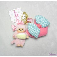 Sweet Monchhichi Mascot Keychain with Zipper Heart Bag PINK - CAKE 255730