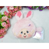 Monchhichi Bunny 13 x 18cm Plush Coin Bag Passcase Card Case with Buckle Pink 255830