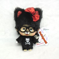 Monchhichi Nyanchhichi Big Head MCC Keychain - Black Cat with Glasses 257930