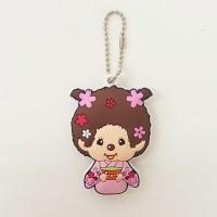 Monchhichi Soft Plastic Mascot MCC Ball Chain Keychain - Kimono Girl 260478
