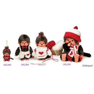 "Monchhichi Heart Knit Bean Bag 11cm MCC Girl Keychain Mascot 261260 ""LAST ONE"""