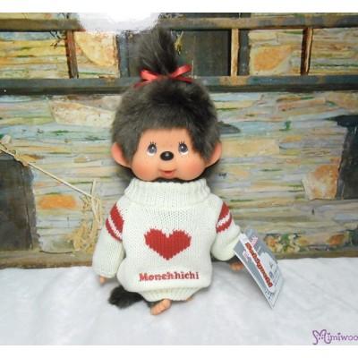 Monchhichi Heart Knit 26cm M Size MCC Girl Plush Doll 261277