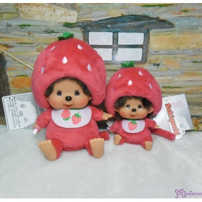 Big Head Monchhichi Mascot SS Size Keychain Strawberry 262069