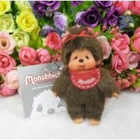 Monchhichi 10cm Plush Mascot Keychain Phone Strap - Red Bib Girl Cry 266810