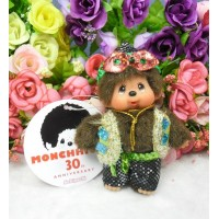 Monchhichi 30th Anniversary Shiny Outfit Boy Mascot Keychain 278800