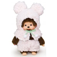 Monchhichi S Size Plush MCC Amimal Cape - Pink Bunny 292650