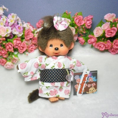 Monchhichi S Size Plush Japanese Summer Rose Flower Yukata Girl 293930