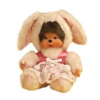 Monchhichi 20cm Dressed MCC Stuffed Plush Bunny Rabbit Pink 298630