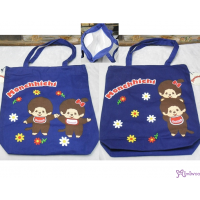 Monchhichi 40x40cm Both Side Flower Pattern Zipper Shoulder Bag Dark Blue 30016