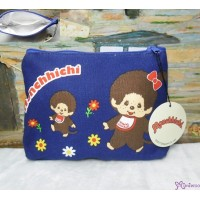 Monchhichi 16x22cm Both Side Flower Pattern Zipper Makeup Bag Dark Blue 30017
