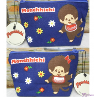 Monchhichi 13x22cm Both Side Flower Pattern Zipper Hand Bag Dark Blue 30018