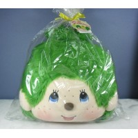 Japan Tokyo Expo Limited Monchhichi Cushion MCC Big Head Green 305184