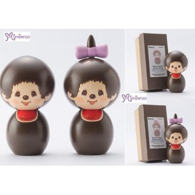 "Monchhichi Kokeshi Japan Hand Made Craft Wooden Doll (PAIR) 444476+444483 ""Pre-Order"""