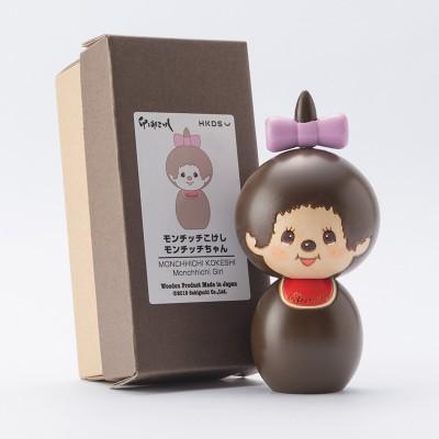 "Monchhichi Kokeshi Japan Hand Made Craft Wooden Doll GIRL 444483 ""Pre-Order"""