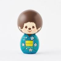 Monchhichi Kokeshi Japan Hand Made Craft Wooden Doll Ver 2 Kimono BOY 444490