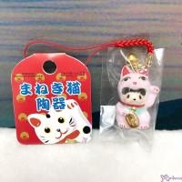 Monchhichi Mascot Ceramics Lucky Cat Phone Strap PINK 499030