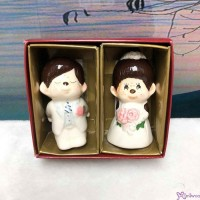 Monchhichi Ceramics Western Wedding Figure 7cm Doll (PAIR) 499052