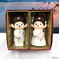 Monchhichi Ceramics Western Wedding Figure 12cm Doll (PAIR) 499069