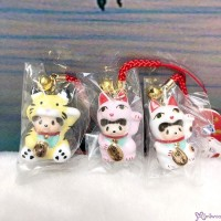 Monchhichi Mascot Ceramics Lucky Cat Phone Strap (Set of 3pcs) 499SET