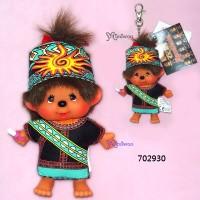 Monchhichi SS Size Big Head Plush Mascot Keychain Chinese Tribe Paiwan 702930