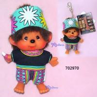 Monchhichi SS Size Big Head Plush Mascot Keychain Chinese Tribe Puyuma 702970