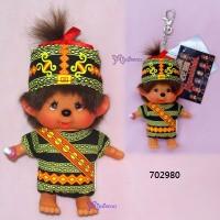 Monchhichi SS Size Big Head Plush Mascot Keychain Chinese Tribe Rukai 702980