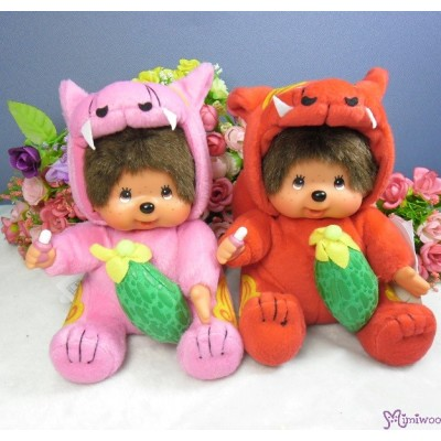 Monchhichi Plush S Size Japan Okinawa Limited - Pink Shisa with Goya 760830