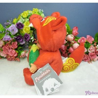 Monchhichi Plush S Size Japan Okinawa Limited - Red Shisa with Goya 760820