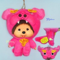 Monchhichi Big Head Keychain Japan Okinawa Limited Mascot Shisa Pink 780280
