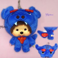 Monchhichi Big Head Keychain Japan Okinawa Limited Mascot Shisa Blue 780290
