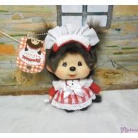 Monchhichi Big Head Tokyo Akihabara Limited Maid Plush Keychain Mascot Red 787760