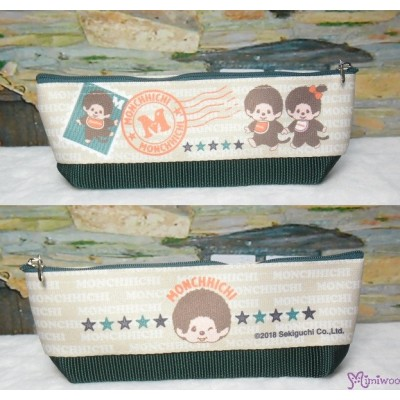Monchhichi 2-Side Pen Bag 20cm Handbag GREEN ~ Made in JAPAN ~ 983494 cdc73efb58898
