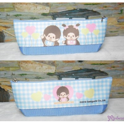 Monchhichi 2-Side Pen Bag 20cm Handbag BLUE ~ Made in JAPAN ~ 983500 719ac3f235068