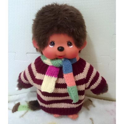 Monchhichi M Size Boutique Fashion Scarf + Knit Sweater Red (Hand Made) MC006-RED