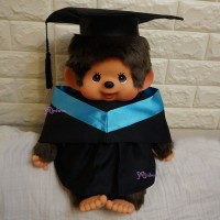 Monchhichi L Size Graduation Gown Blue + Hat with 40cm Premium MCC Boy MCG