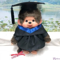 Monchhichi L Size Graduation Gown Dark Blue + Hat with 40cm Premium MCC Boy MCG-DBL