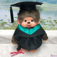 Monchhichi L Size Graduation Gown Green + Hat with 40cm Premium MCC Boy MCG-GRN