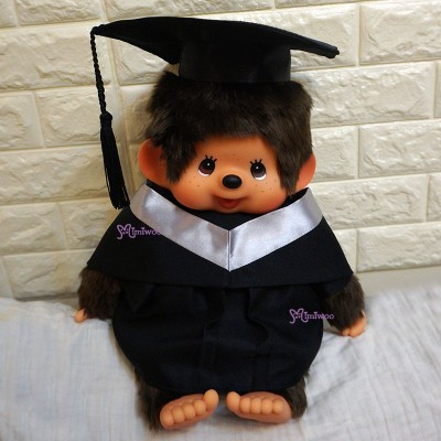 Monchhichi L Size Graduation Gown Silver + Hat with 40cm Premium MCC Boy 畢業 MCG