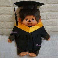 Monchhichi L Size Graduation Gown Yellow + Hat with 40cm Premium MCC Boy MCG