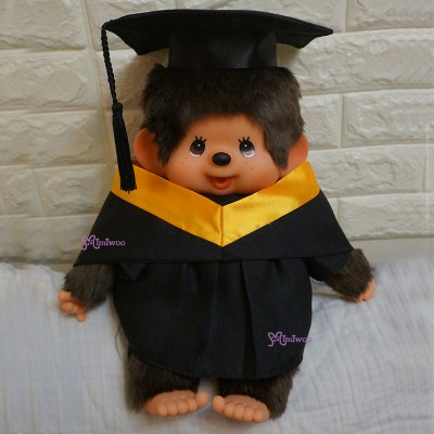 Monchhichi L Size Graduation Gown Yellow + Hat with 40cm Premium MCC Boy 畢業 MCG