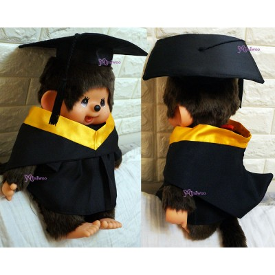 Monchhichi L Size Graduation Gown Purple + Hat with 40cm Premium MCC Boy MCG