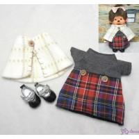 Monchhichi S Size Fashion Shawl + Checker Dress + Shoes Set RX024+YK08BLK