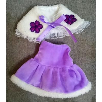 Monchhichi M Size Boutique Outfit Fashion Purpe Shawl + Dress Set RX025
