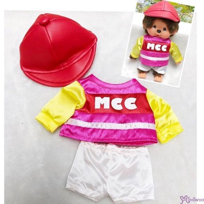 Monchhichi S Size Boutique Horse Racing Jockey Suit PINK (Helmet, Shirt, shorts) RX035-RED