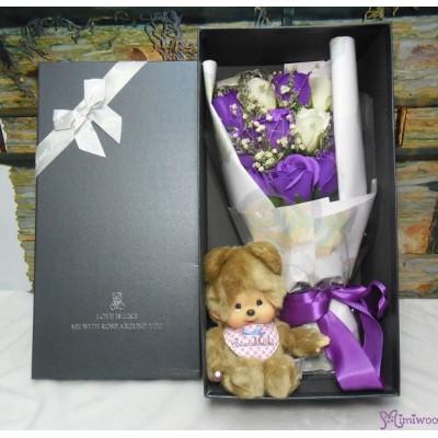 Monchhichi S Size Bear + Soap Flower Rose Gift Box Set