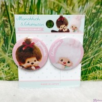 Monchhichi Chimutan Chim Tan Bunny 1.5 inch diameter Badge 2pcs (Made in Japan) UC0554